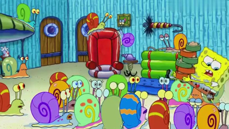 海绵宝宝家里到处都是蜗牛,他可忙坏了,连班都上不了!