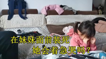 大飞在妹妹面前装死,妹妹却选择继续看小猪佩奇?最后终于哭了!