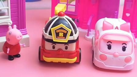 小猪佩奇小汽车消防车救护车玩具