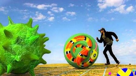 小伙试玩真人版球球大作战,中途突显病毒球,变大后吃下太过瘾