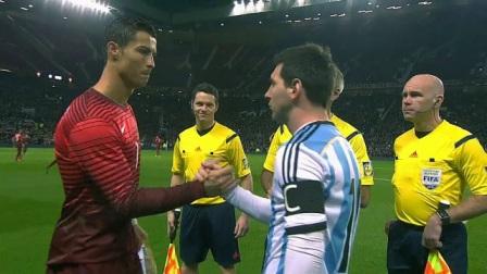 C罗和梅西的第一次国家队较量,两大球王目视对方,英雄惜英雄
