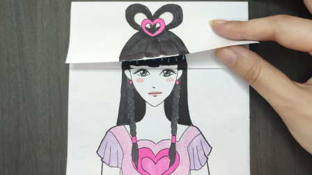用一张纸画动画片《叶罗丽》王默换三次发型比颜值,哪次最好看