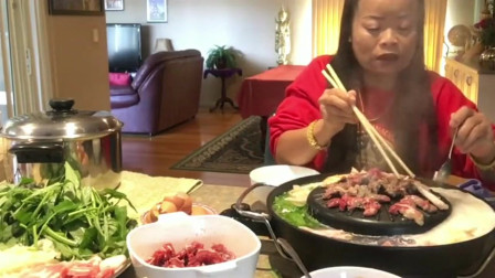 泰国富婆在家吃火锅,泰国的铁锅太方便了,烤肉火锅二合一