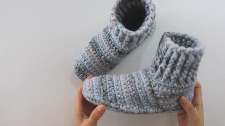 低调灰毛线快速钩鞋(下)内容:鞋后跟,假期边打磨时间边学手艺
