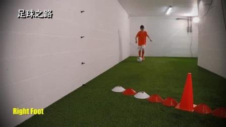 足球青训丨1v1过人技巧之脚后脚磕球变向
