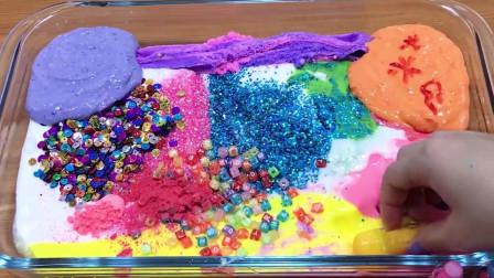 彩泥黏土+口红指甲油+水晶泥,创意无硼砂史莱姆教程,解压又好玩