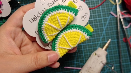 赤赤妈咪手工坊  柠檬发夹的钩织教程