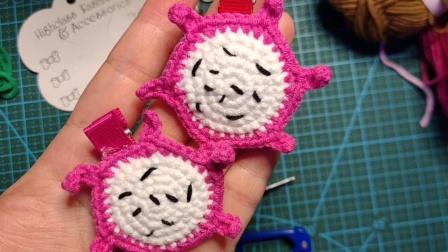 赤赤妈咪手工坊  火龙果发夹的钩织教程