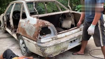1993年产的汽车已报废,牛人要给它翻新了,这是个大工程(上集)