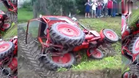 拖拉机掉进了深坑,老师傅3分钟带领爱车出困境
