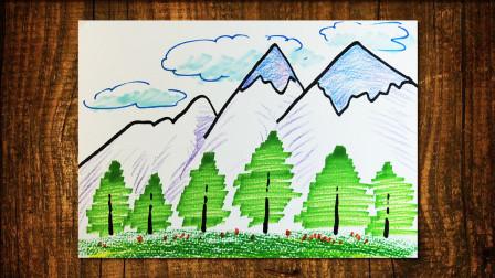风景雪山窦老师教画画