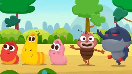 早上好,中午好,虫子家族们学习相互问好!爆笑虫子趣味启蒙英语儿歌游戏