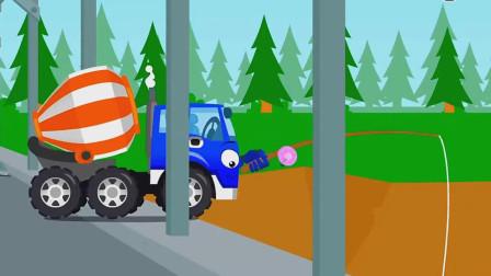 有了机械手的搅拌车帮助处于危难中的小伙伴!汽车总动员游戏