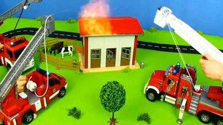 好玩的消防车玩具模拟灭火视频 小朋友喜欢那款呢