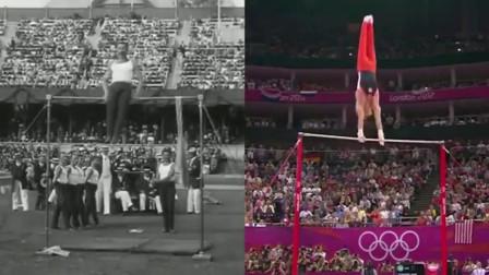 100年前的奥运会单杠比赛和现在的比较,人类的进步真是太大了!