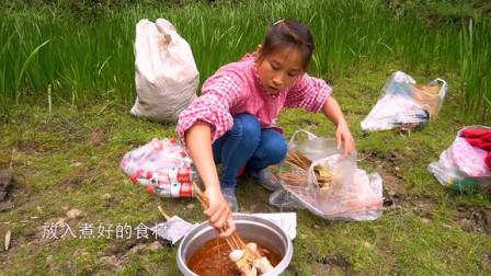 桃子姐和家人一起去春游,钓鱼吃火锅,冷锅串串,美滋滋!#优酷吃货节##厨艺大赏#