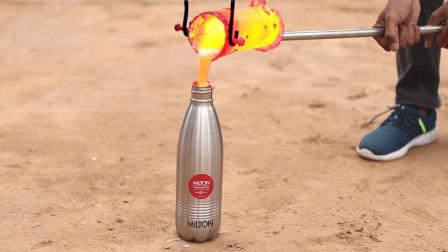耐热瓶能抗住1000℃铝水的倾倒吗?老外亲测,画面不可思议!