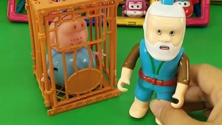 猪爸爸被怪兽骗进了笼子里,奥特曼来救他不知道密码,你们知道密码吗?
