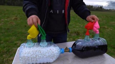 可乐加上曼妥思,能把气球吹爆炸吗?不可思议的现象发生了