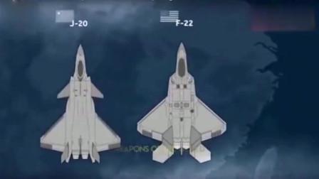 歼20、F22简单对比 ,正视差距!