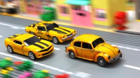 变形金刚电影制片厂系列豪华级重涂漆3大黄蜂车辆汽车机器人玩具