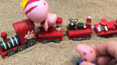 圣诞小火车来啦,朵朵和乔治都坐到车上去了,小朋友们喜欢吗?