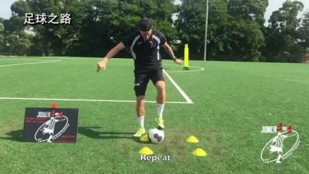 足球训练丨4个标志盘练习控球能力