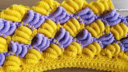 双色香蕉款手提包钩织针法教程,提这个包身份立马提升2倍