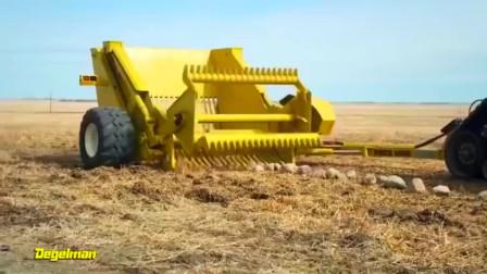牛人发明:美国牛人发明的岩石收割机,省时又省力,真是够先进
