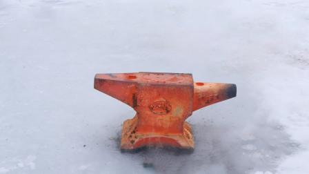 河面结冰80公分,1200度铁砧能烧穿吗?结果太意外了!