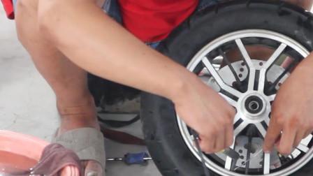 电动车轮胎内圈漏气,快点看过来,老师傅一分钟教你