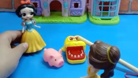 白雪养的小猪跑到贝儿家,贝儿本想命令自己的宠物作案,没想到会出现叛变