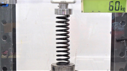 市面上哪种弹簧好?小伙液压机测试,结果出乎意料!
