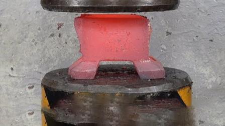把铁砧加热到1200度,放到液压机下会怎样?结果玩大了!