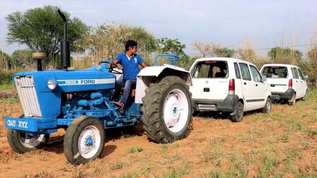 农村小伙新买的拖拉机,用2辆汽车测试,结果太意外了!