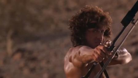敌军开着直升机嚣张,不料兰博的弓箭是高科技,一箭把直升机射炸