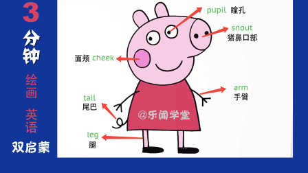 3分钟画个可爱的小猪佩奇绘画视频教程,英语绘画#儿童启蒙教育#