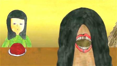 女孩嘴巴长在脑后,为不让别人发现,她只好模仿正常人吃饭的样子!