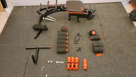 六合一多功能健腹椅安装视频_带踢腿锻炼功能