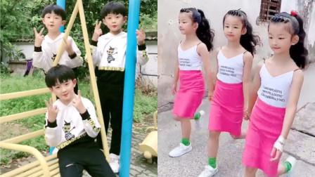 好可爱的三胞胎姐妹VS 三胞胎兄弟,画面温馨幸福,羡慕网友