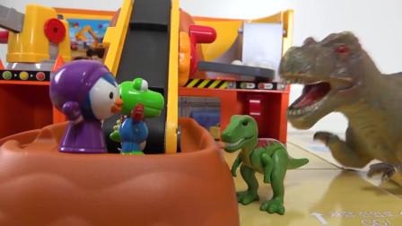 恐龙Pororo Tayo在Tayo重型装备村被奴役了!