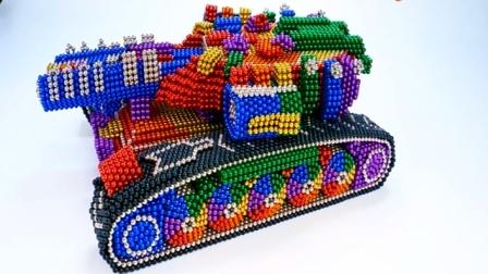 用彩色巴克球拼装履带式坦克模型 创意玩具