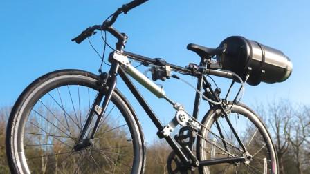 在自行车后座装上气缸,风驰电掣的速度跑起来,结果事实是这样
