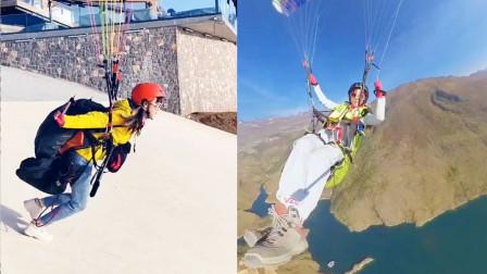 极限挑战!美女小姐姐热爱飞翔玩转滑翔伞,领略大好河山!