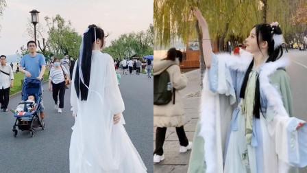 美丽的风景!小姐姐穿着汉服走在街上,简直让人一见钟情啊!