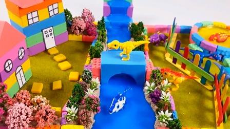 创意玩具 橡皮泥彩泥手工建造迷你农舍还有河流.mp4