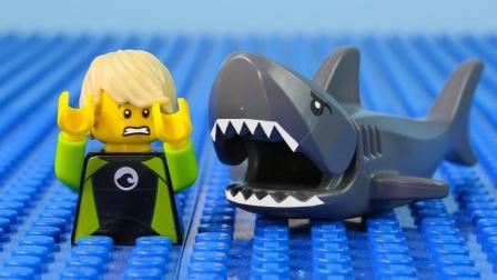 乐高城市鲨鱼袭击停止运动乐高鲨鱼袭击砖块建筑#乐高城市#通过比利·布里克.