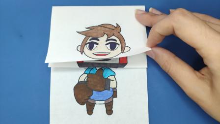 创意趣味简笔画:给动画里的搬运工画4次换脸,来回变换太有趣