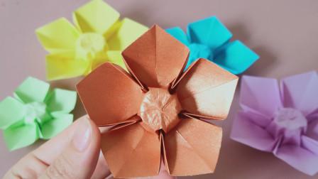 一张纸做简单漂亮的樱花折纸,这种折法好多人不会