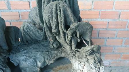 假山盆景竟是毛巾做成的,大哥真是心灵手巧,真是要心动了啊!